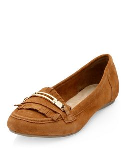 Tan Suede Metal Bar Tassel Loafers  | New Look
