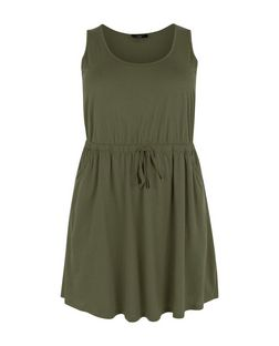 Plus Size Khaki Tie Waist Dress  | New Look