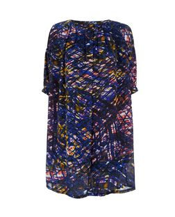 Purple Abstract Print Pleated Neck Shift Dress | New Look