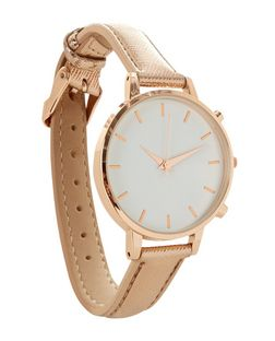 Rose Gold Metallic Oversized Dial Watch | New Look