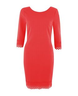 Red Laser Cut Out Hem 3/4 Sleeve Bodycon Dress  | New Look