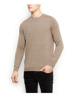 Stone Cotton Shoulder Patch Jumper | New Look