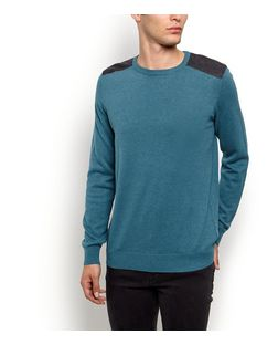 Green Cotton Shoulder Patch Jumper | New Look