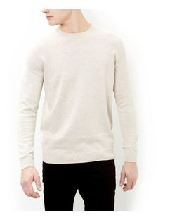 Stone Cotton Basic Crew Neck Jumper | New Look