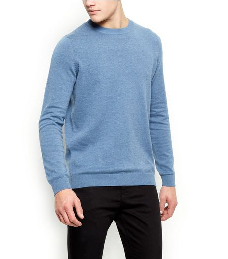 Blue Cotton Basic Crew Neck Jumper | New Look