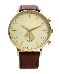 Brown Leather Oversized Dial Watch  | New Look