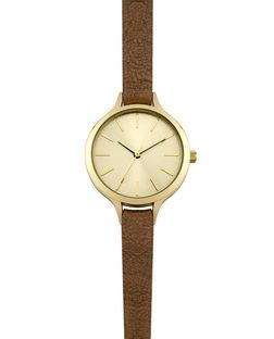 Brown Skinny Strap Watch  | New Look