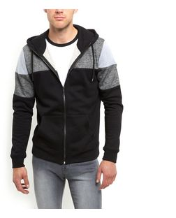 Grey Colour Block Zip Up Hoodie  | New Look