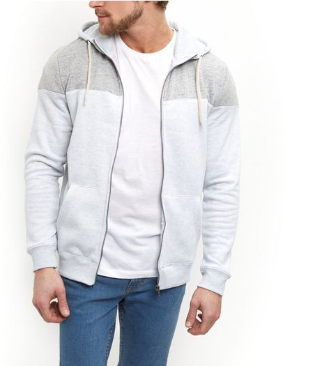 Light Grey Colour Block Zip Up Hoodie  | New Look