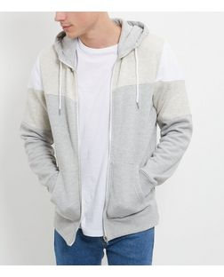 Stone Colour Block Zip Up Hoodie  | New Look