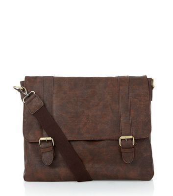 Brown Leather-Look Satchel