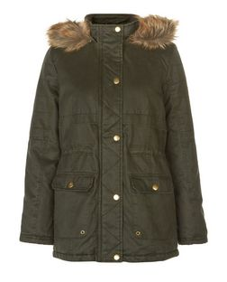 Teens Khaki Premium Faux Fur Trim Hooded Parka  | New Look