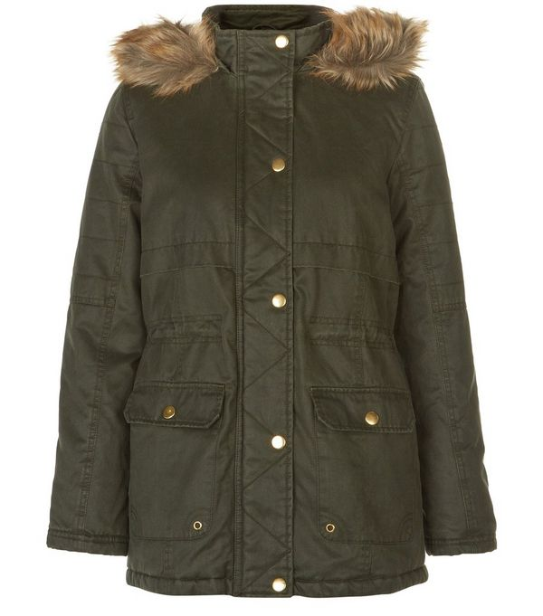 Teens Khaki Premium Faux Fur Trim Hooded Parka