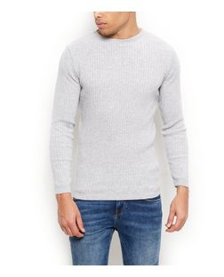 Grey Twist Ribbed Knit Jumper | New Look