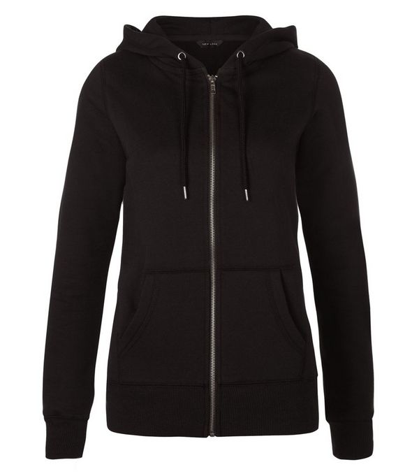 Black Basic Zip Up Hoodie