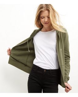 Khaki Basic Zip Up Hoodie | New Look