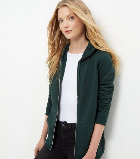 Green Basic Zip Up Hoodie | New Look