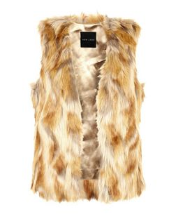 Brown Two Tone Faux Fur Gilet  | New Look