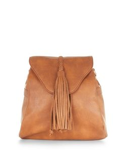 Tan Fringe Trim Mini Backpack  | New Look