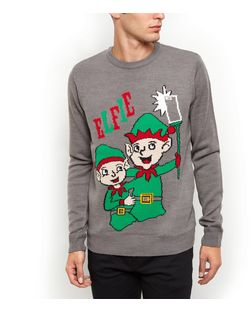 Grey Elfie Christmas Jumper | New Look