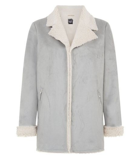 Teens Pale Grey Faux Shearling Lined Longline Jacket  | New Look