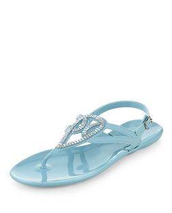 Light Blue Embellished Swirl Strap Sandals  | New Look