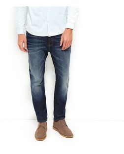 Dark Blue Mid Wash Slim Fit Jeans  | New Look