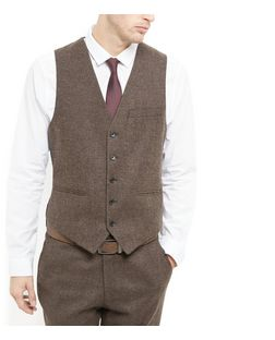 Brown Wool Mix Textured Waistcoat  | New Look
