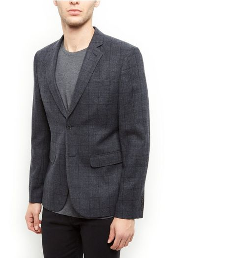Grey Textured Check Blazer  | New Look