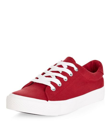 Teens Red Lace Up Plimsolls  | New Look