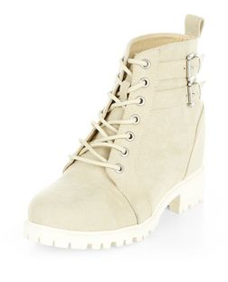 Teens Cream Lace Up Wedge Boots  | New Look