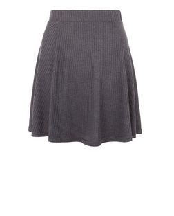 Grey Ribbed Skater Skirt  | New Look