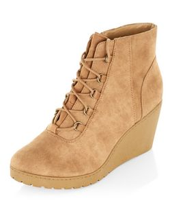 Teens Tan Lace Up Wedge Boots  | New Look