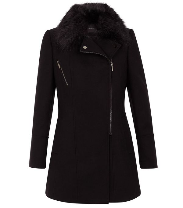 Black Faux Fur Collar Longline Biker Coat