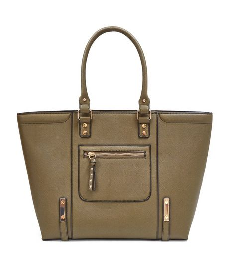 Khaki Structured Tote Bag | New Look