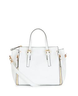 White Zip Side Bowler Bag  | New Look