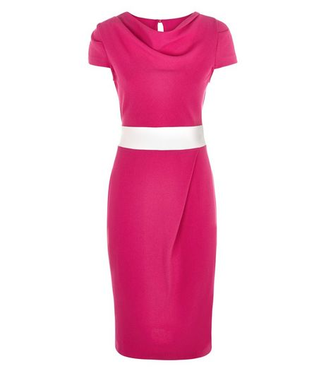 Closet Bright Pink Tie Waist Pencil Dress  | New Look