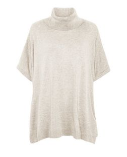 Stone Roll Neck Short Sleeve Jumper | New Look