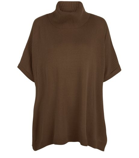 Khaki Roll Neck Short Sleeve Jumper | New Look