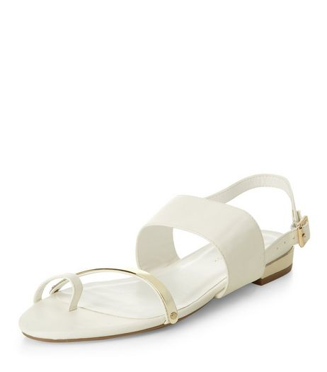 White Metal Strap Sling Back Sandals  | New Look