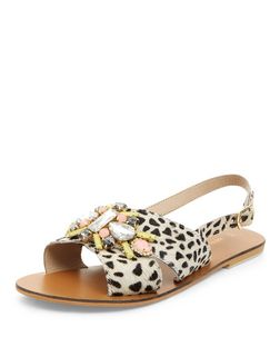 Stone Leather Leopard Print Jewel Cross Strap Sandals  | New Look