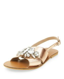 Bronze Leather Jewel Cross Strap Sandals  | New Look