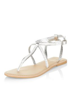 White Leather Plaited Strap Sandals | New Look