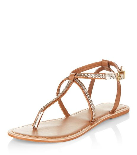 Tan Leather Plaited Strap Sandals  | New Look