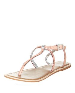 Pink Leather Plaited Strap Sandals | New Look