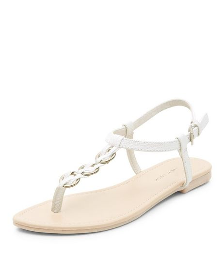 White Woven Hoop Sandals | New Look