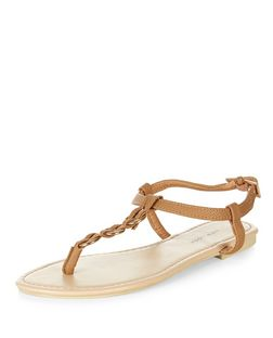 Tan Woven Hoop Sandals | New Look