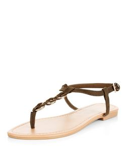 Khaki Woven Hoop Sandals | New Look