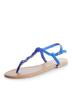 Blue Woven Hoop Sandals | New Look