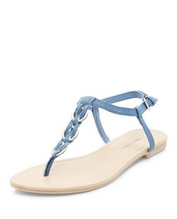 Light Blue Woven Hoop Sandals | New Look